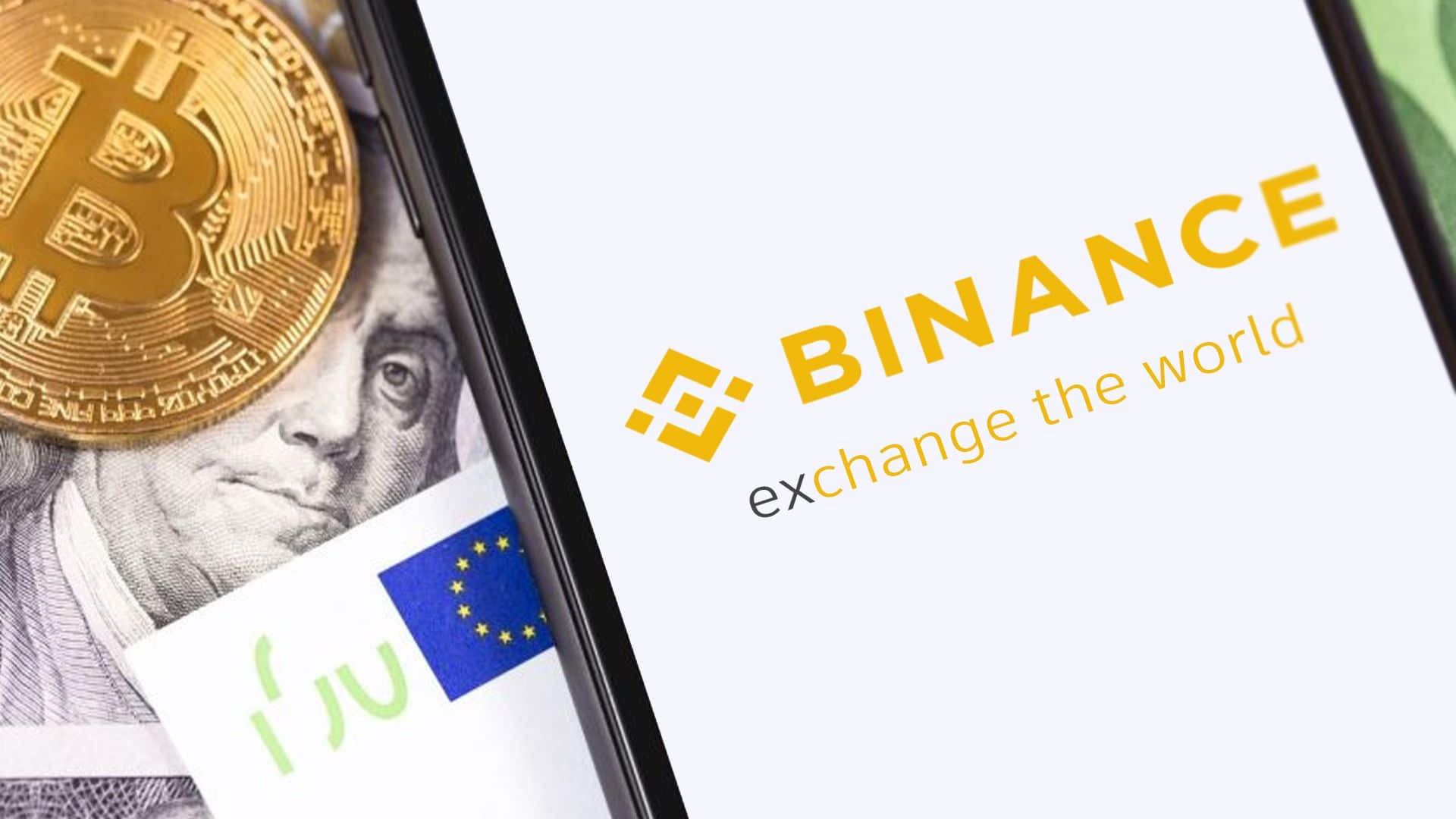 Moneda de Bitcoin, billete euros y app de binance